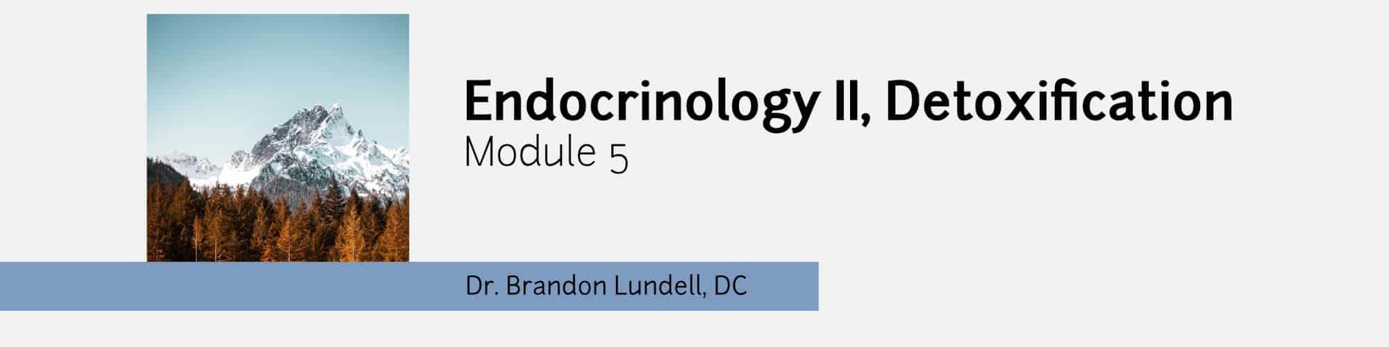 Module 5 - Endocrinology Two, Detox