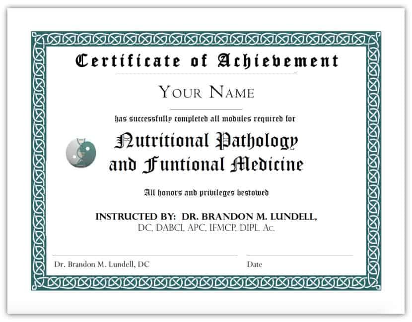 Dr Brandon Lundell Certificate, Nutritional Pathology, Medicine, Boulder healing